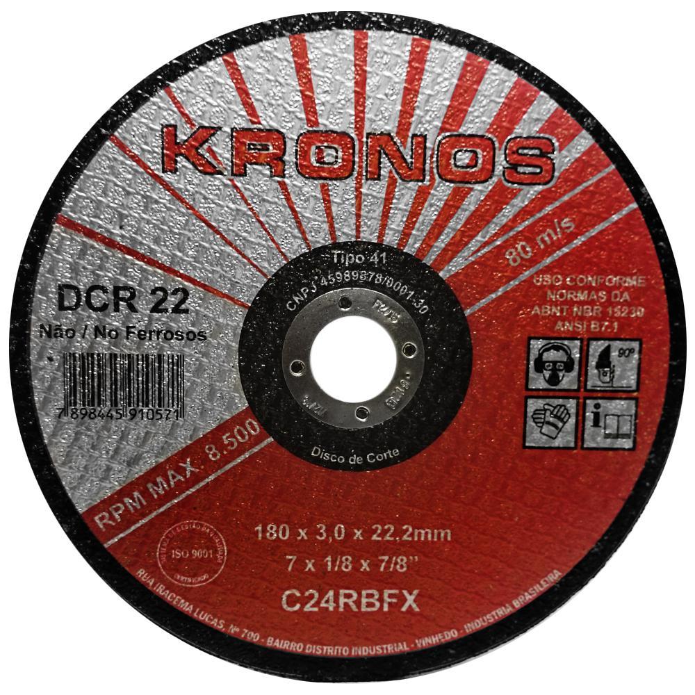 """Disco de Corte Refratário Kronos DCR 22 9"""" x 1/8"""" x 7/8"""""""