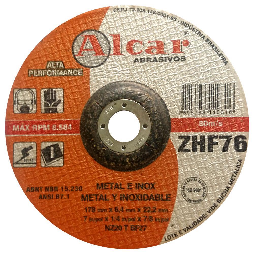 Disco de Desbaste Alcar Zirconado ZHF76 7x1/4x7/8