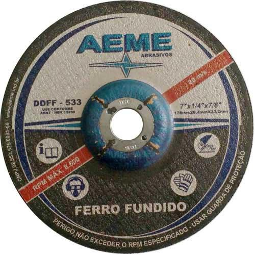 "Disco de Desbaste Ferro Fundido Aeme DDFF 533 4.1/2"" x 1/4"" x 7/8"""
