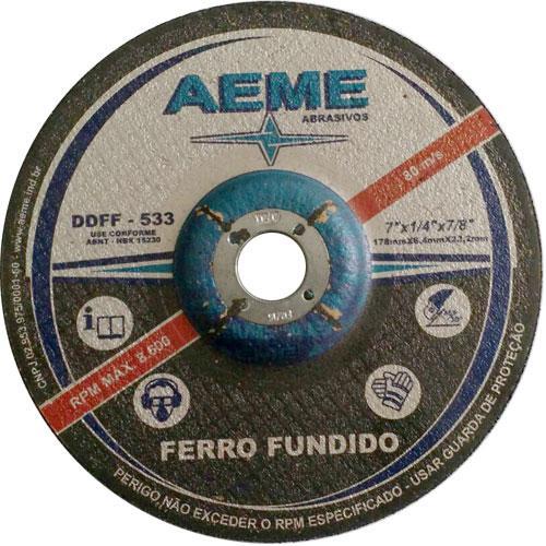 "Disco de Desbaste Ferro Fundido Aeme DDFF 533 9"" x 1/4"" x 7/8"""