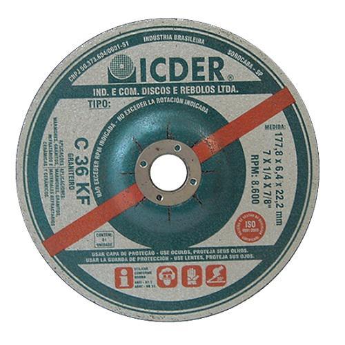 """Disco de Desbaste Icder Refratário 7"""" x 1/4"""" x 7/8"""" KF C36"""