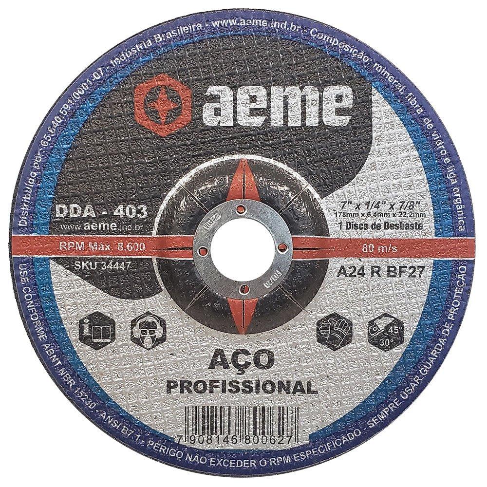 Disco de Desbaste para aço Aeme DDA 403 7 x 1/4 x 7/8