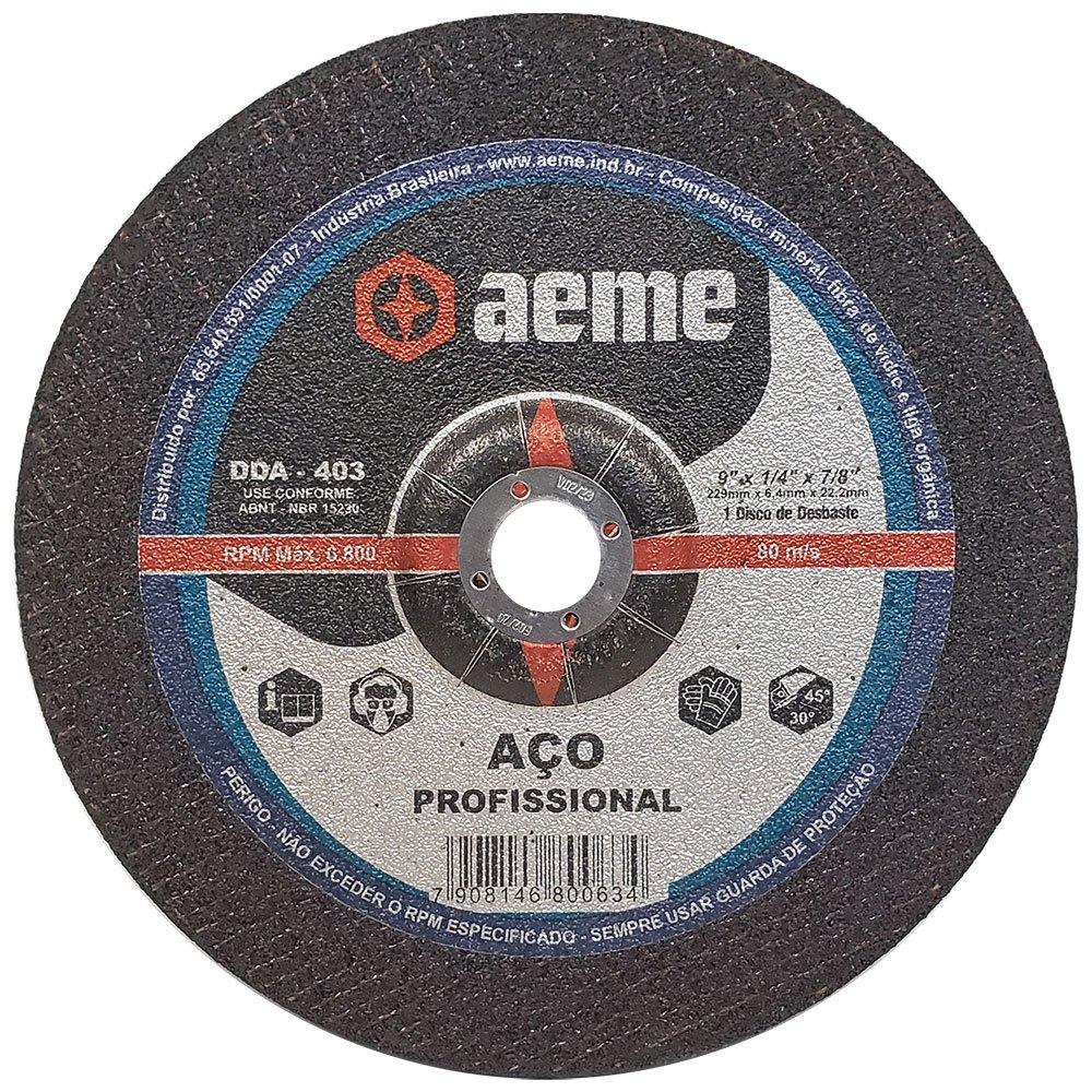 Disco de Desbaste para aço Aeme DDA 403 9 x 1/4 x 7/8 Pol