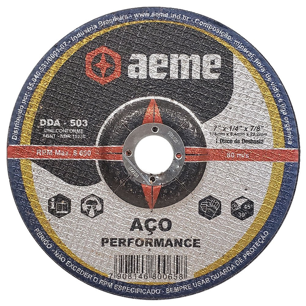 Disco de Desbaste para Aço Aeme DDA 503 7 x 1/4 x 7/8