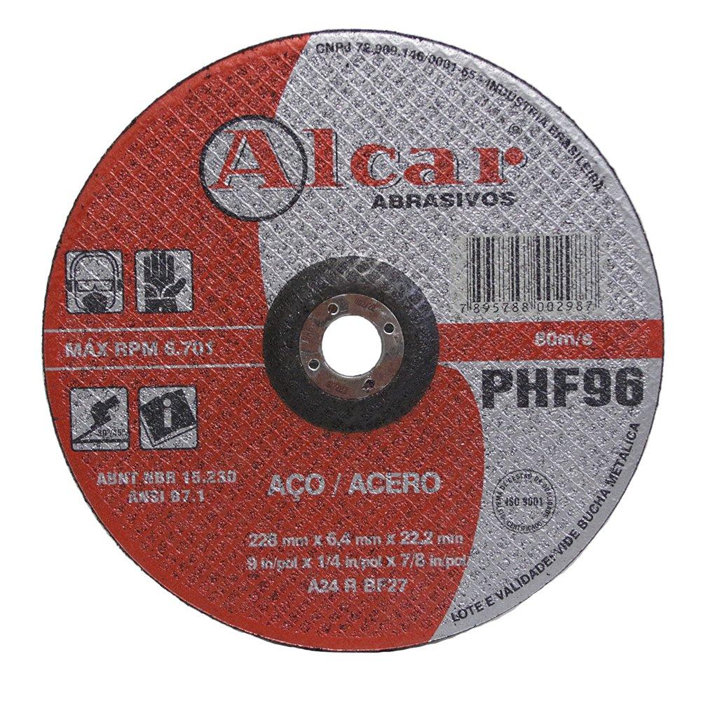 """Disco de Desbaste para Aço Alcar PHF-96 9"""" x 1/4"""" x 7/8"""""""