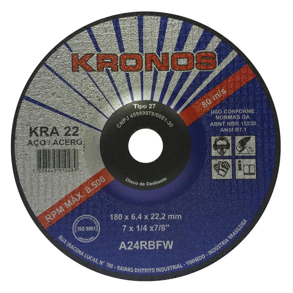 "Disco de Desbaste para Aço Kronos KRA 22 4.1/2"" x 1/4"" x 7/8"""