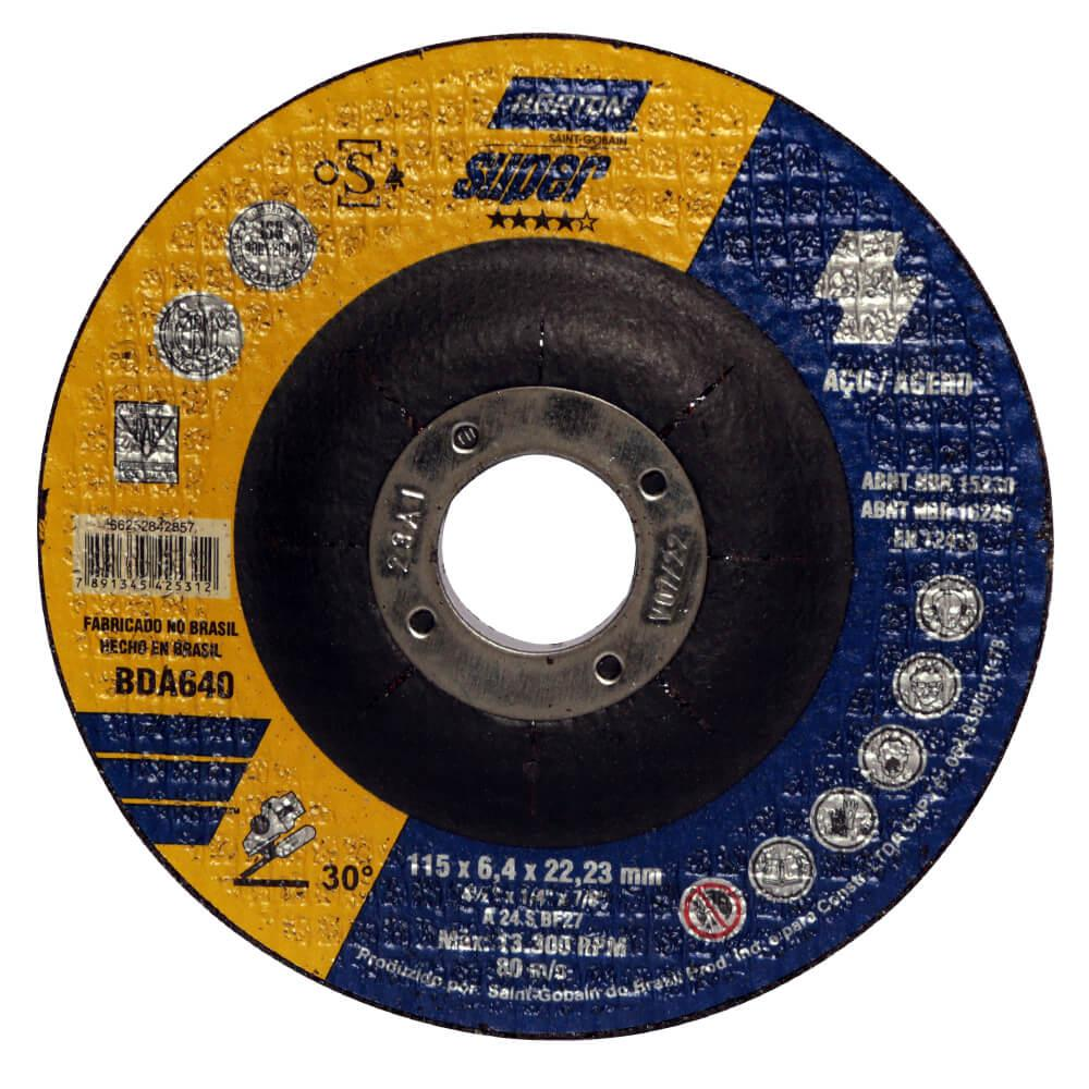Disco de Desbaste para Aço Norton Super BDA 640 4.1/2 x 1/4 x 7/8