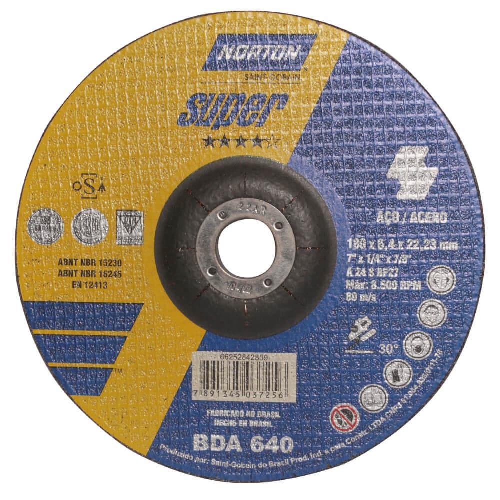 Disco de Desbaste para Aço Norton Super BDA 640 7 x 1/4 x 7/8
