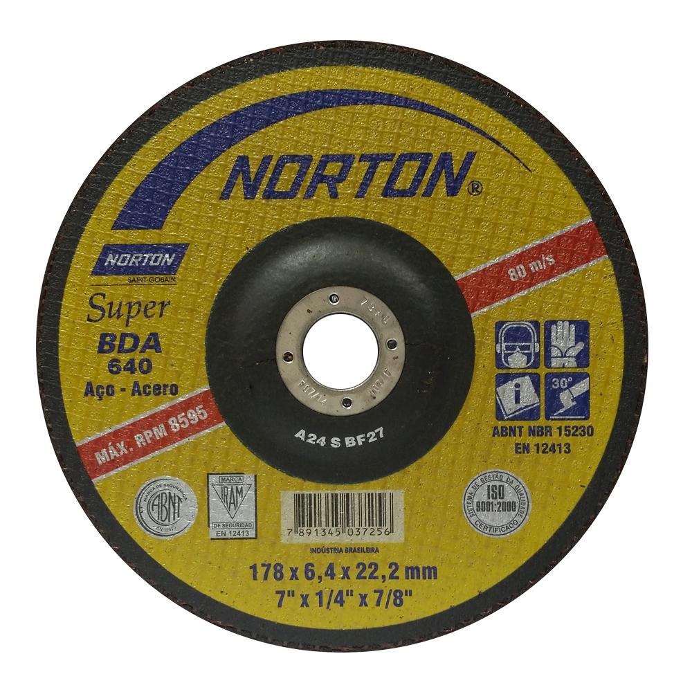 "Disco de Desbaste para Aço Norton Super BDA 640 9"" x 1/4"" x 7/8"""