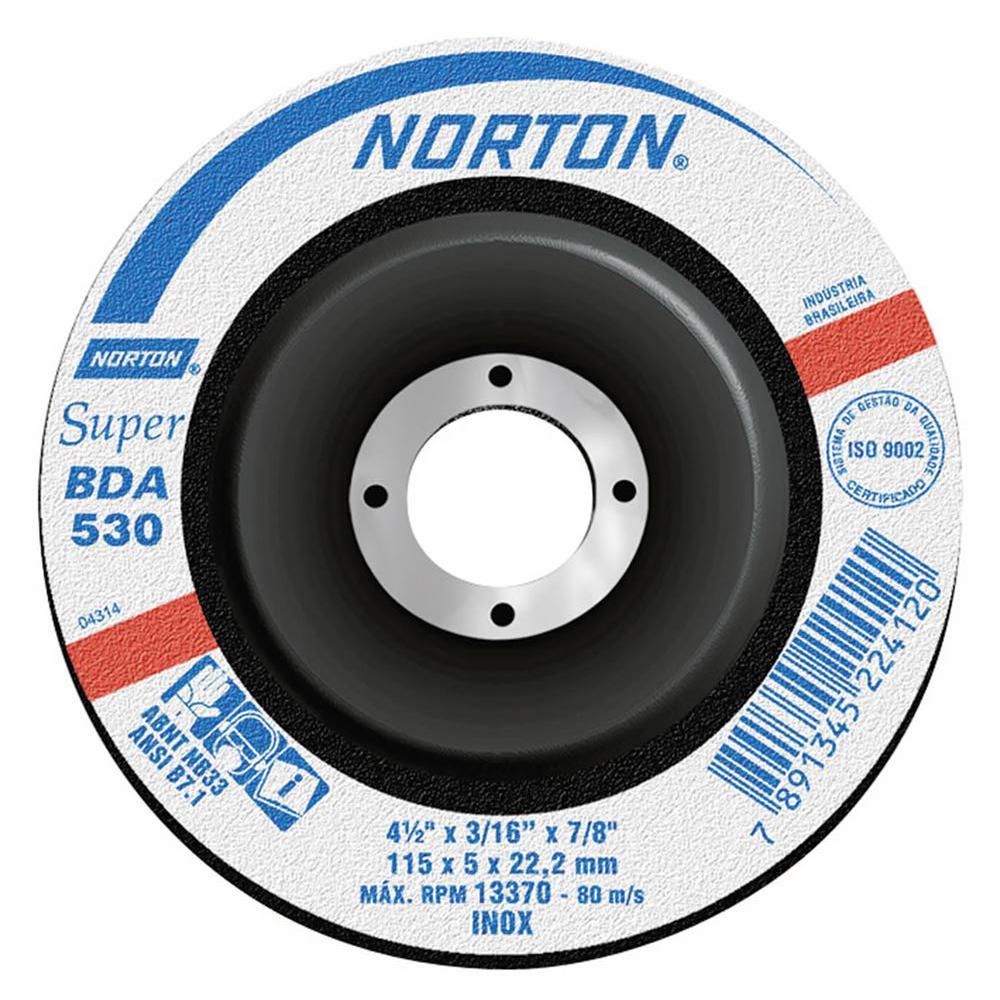 """Disco de Desbaste para Inox Norton Super BDA 530 4.1/2"""" x 3/16"""" x 7/8"""""""