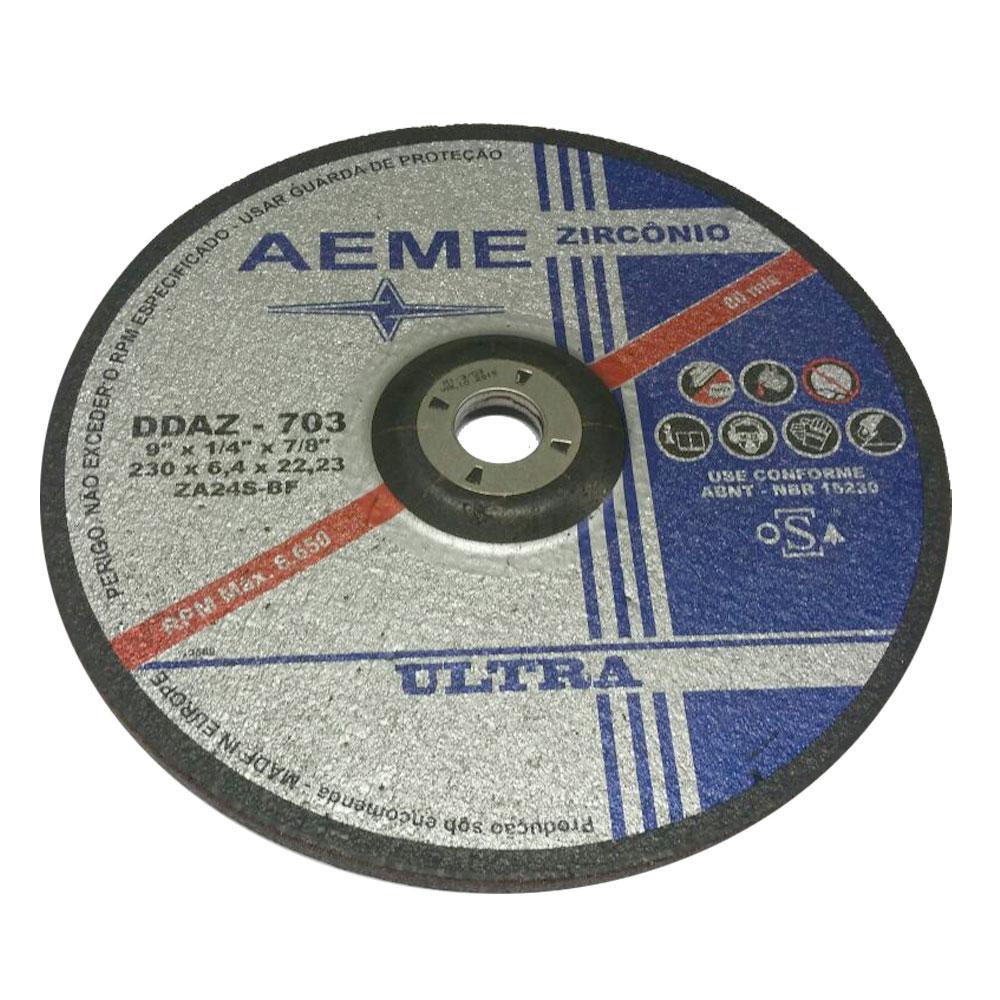 "Disco de Desbaste Zirconado Ultra AEME DDAZ-703 9"" x 1/4"" x 7/8"""