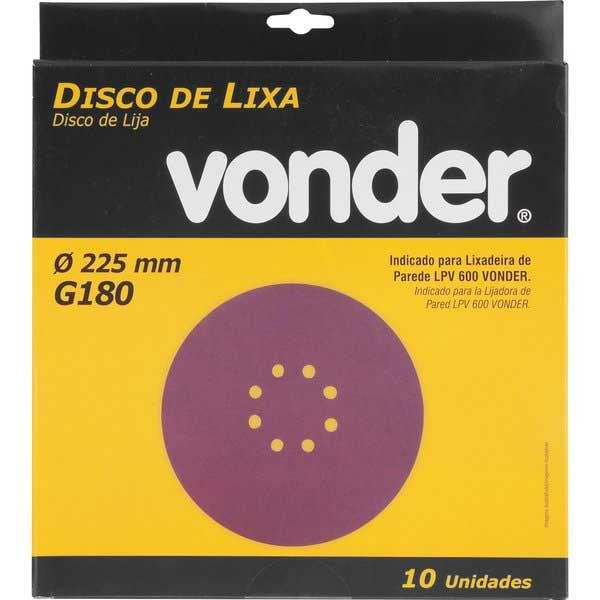 Disco de Lixa 225mm para Lixadeira de Parede LPV600 Vonder Grão 180