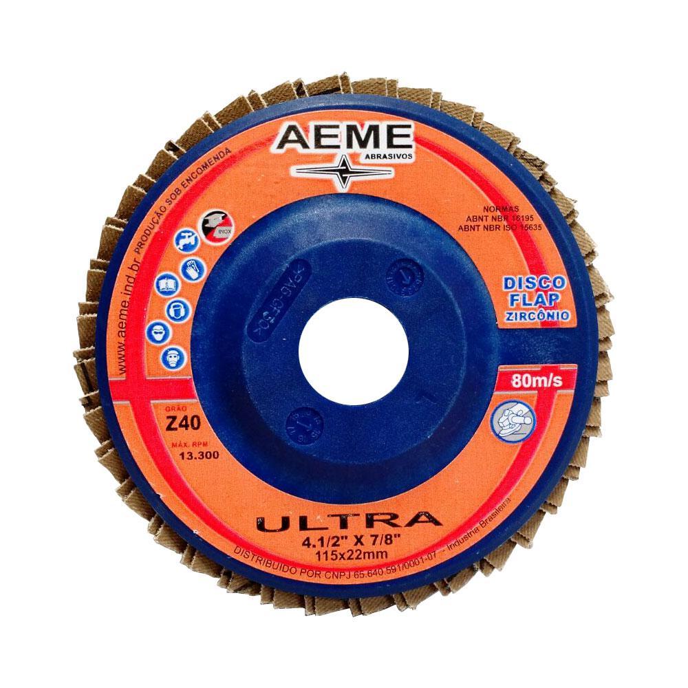 "Disco Flap Aeme Ultra 4.1/2"" Costado Nylon Reto G120"