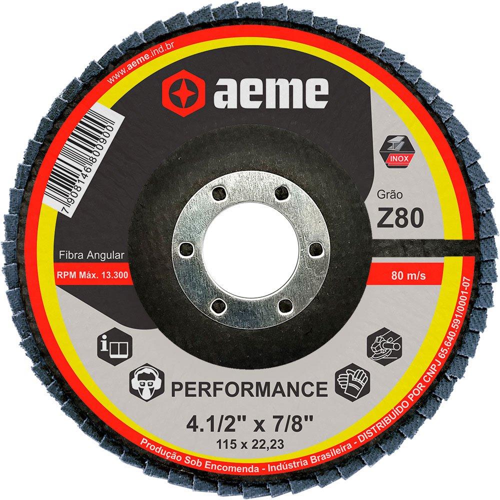 Disco Flap Performance 4.1/2 Pol Aeme Costado Fibra Angular Grão 80