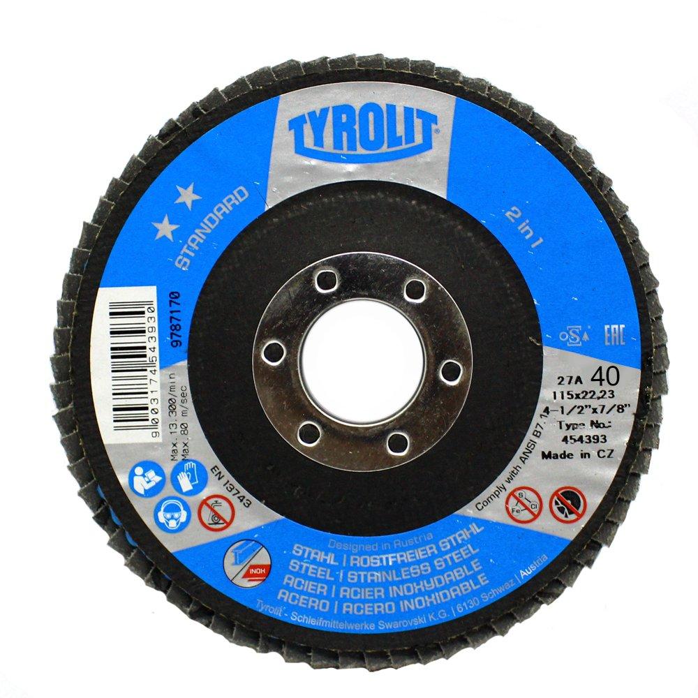 Disco Flap Tyrolit Standard 4.1/2 Pol Costado Fibra Angular Grão 40 - 10 Peças