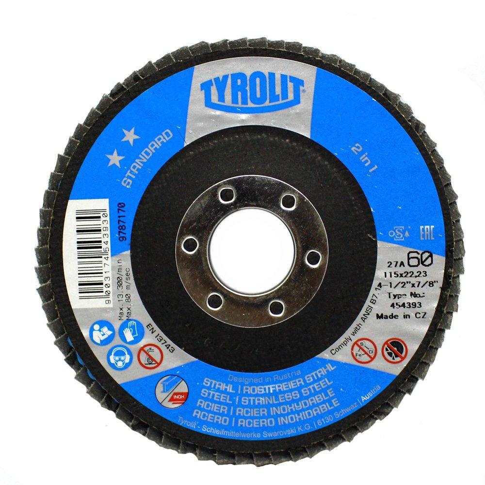 Disco Flap Tyrolit Standard 4.1/2 Pol Costado Fibra Angular Grão 60 - 10 Peças