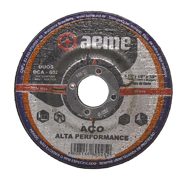 Disco para Corte e Desbaste Aço 2T Aeme DCA 602 4.1/2 x 1/8 x 7/8