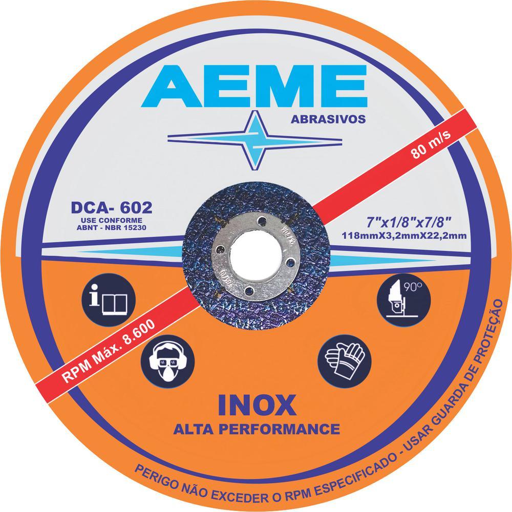 Disco para Corte e Desbaste Aço 2T Aeme DCA 602 7 x 1/8 x 7/8