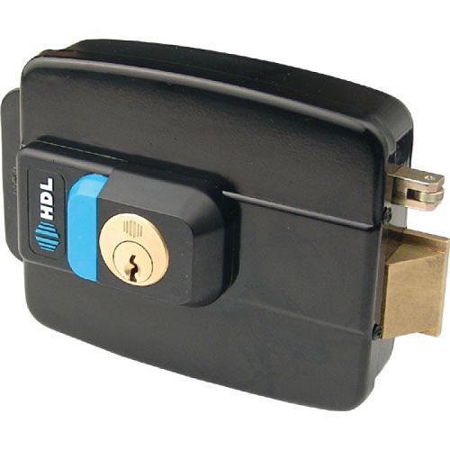 Fechadura Elétrica Dupla Preta com Botão C-90 Abertura para Fora HDL
