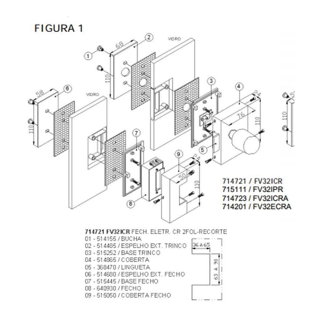Fechadura Elétrica Porta de Vidro 2 Folhas Amelco FV32ICR