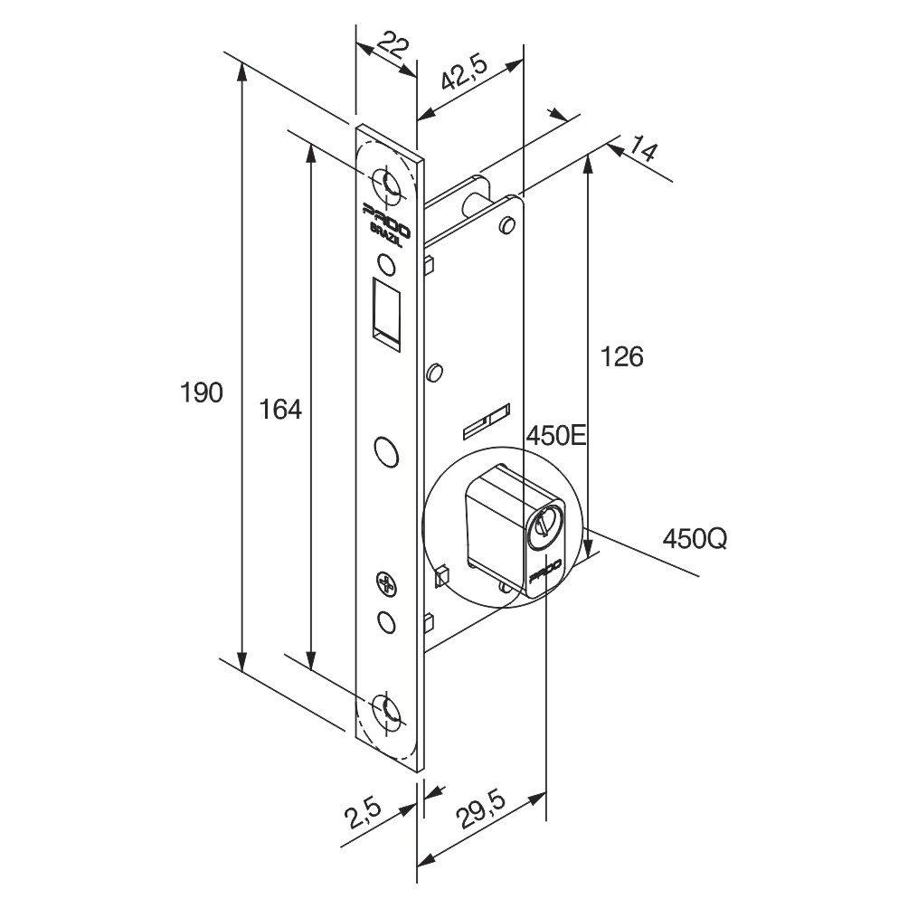 Fechadura Porta de Correr Pado 440 1/2 Cilindro