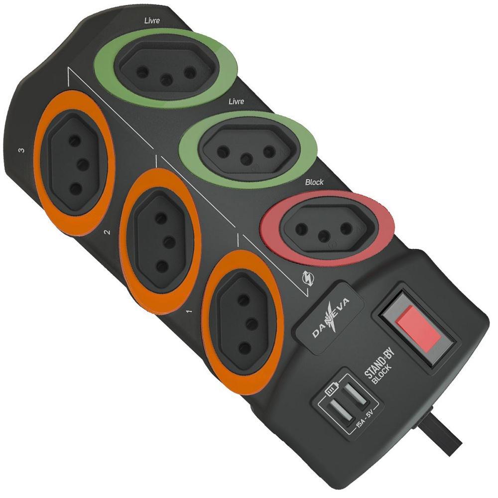 Filtro de Linha 6 Tomadas e USB Daneva DN 1795