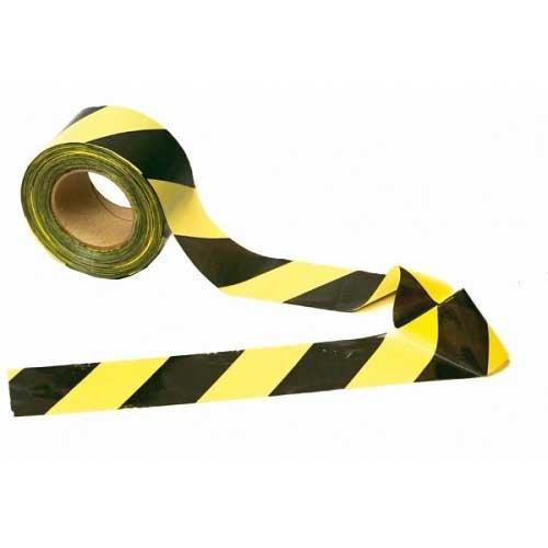 Fita Zebrada Preta/Amarela Plastcor 100 metros