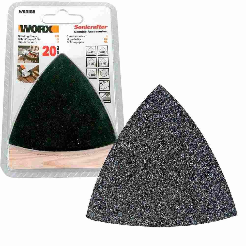 Kit de Lixa Triangular 20 Peças para Multiferramenta Worx