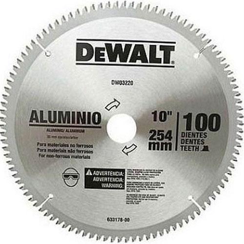 """Lâmina de Serra Esquadria Aluminio 10"""" 100 Dentes Dewalt DW03220"""