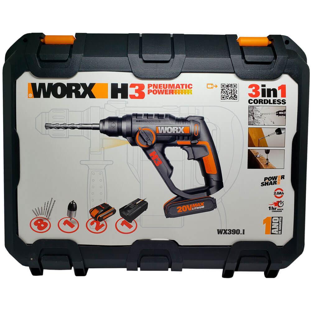 Martelete Sds Plus à Bateria 20v Lítio Wx390.1 Worx