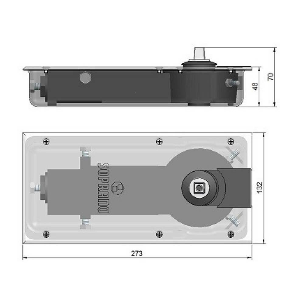 Mola de Piso Soprano para Porta de Vidro P310