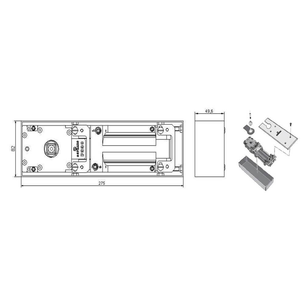 Mola de Piso Soprano para Porta de Vidro P330
