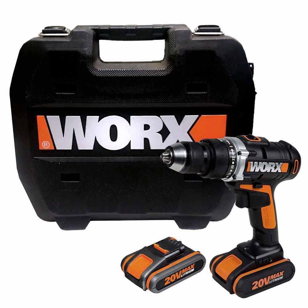 """Parafusadeira e Furadeira à Bateria 20v Worx 1/2"""" WX372"""