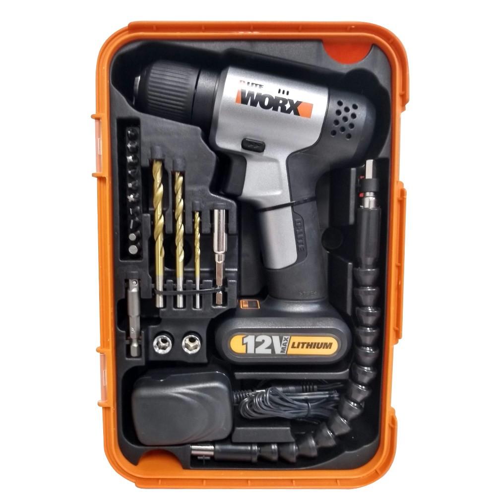 Parafusadeira e Furadeira à Bateria Worx WX104 com Acessórios