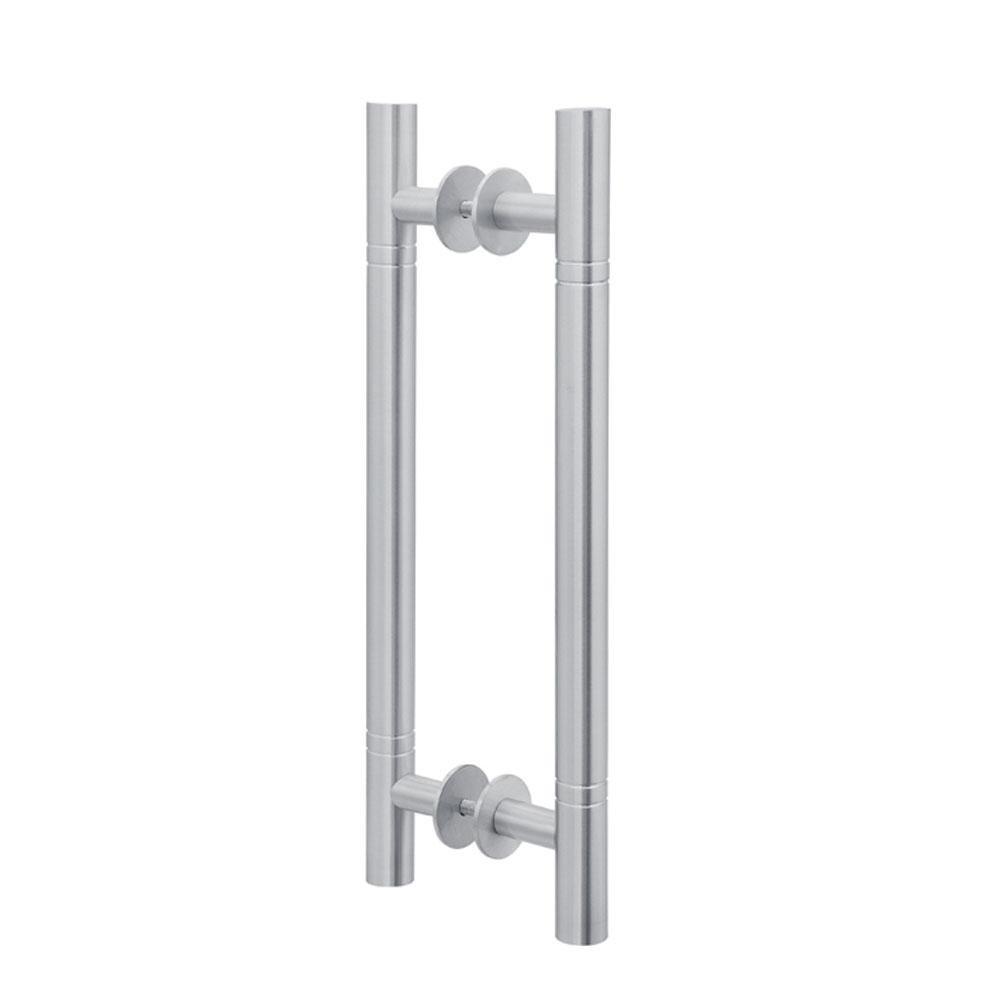 Puxador Duplo para Porta Pauma Alumínio Acetinado 291 com Friso 80cm