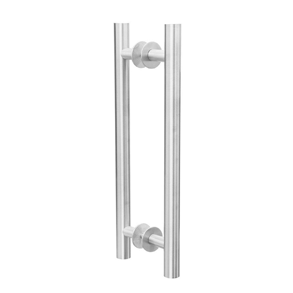 Puxador Duplo para Porta Pauma Alumínio Acetinado 291 sem Friso 40cm