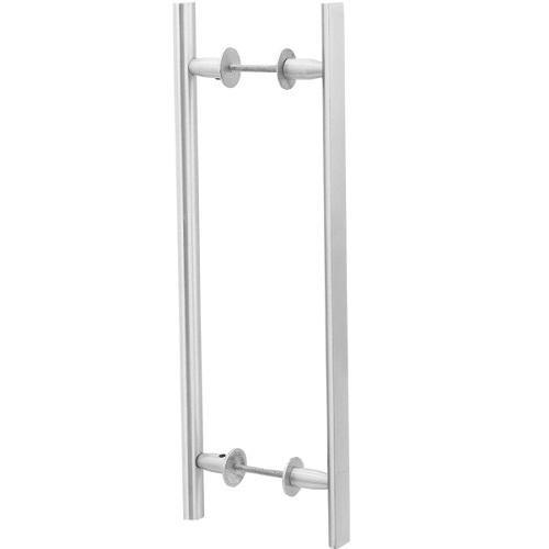 Puxador Duplo para Porta Pauma Alumínio Acetinado 312 9,6cm