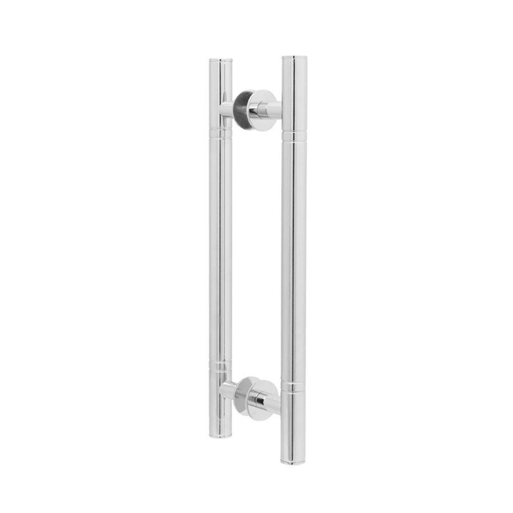 Puxador Duplo para Porta Pauma Alumínio Cromado 291 com Friso 40cm