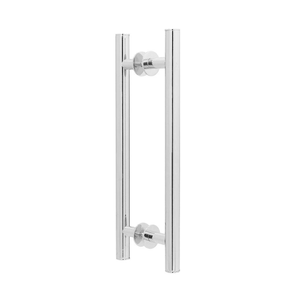 Puxador Duplo para Porta Pauma Alumínio Cromado 291 sem Friso 40cm