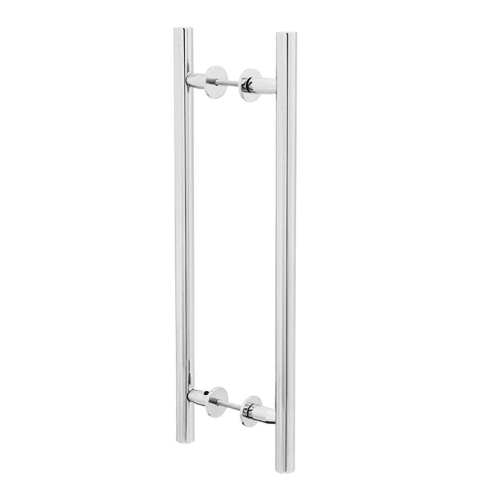 Puxador Duplo para Porta Pauma Alumínio Cromado 311 sem Friso 25,6cm
