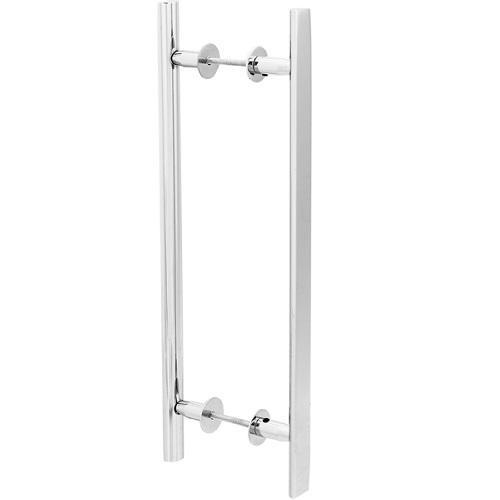 Puxador Duplo para Porta Pauma Alumínio Cromado 312 25,6cm