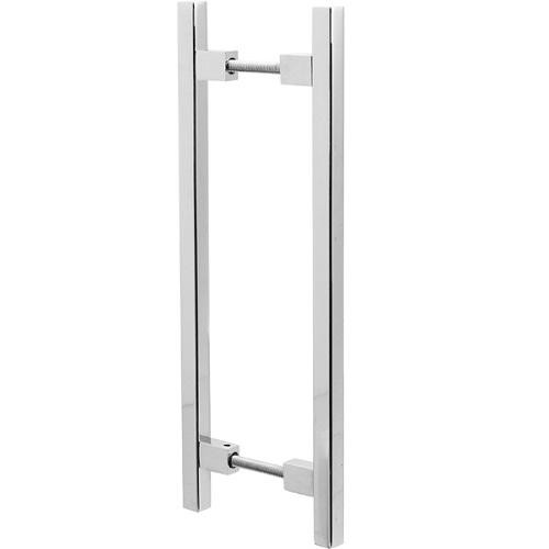 Puxador Duplo para Porta Pauma Alumínio Cromado 313 9,6cm
