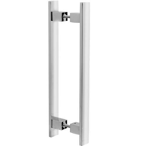 Puxador Duplo para Porta Pauma Alumínio Cromado 314 40cm