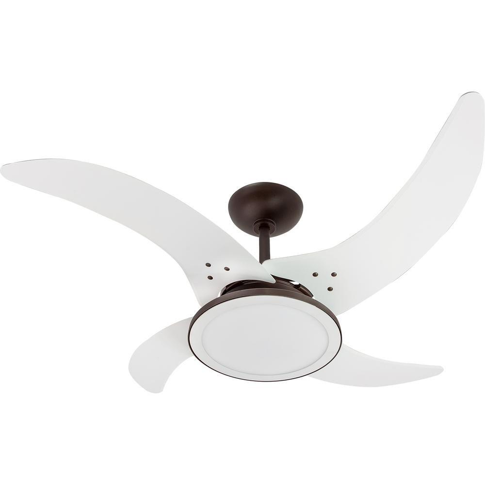 Ventilador de Teto Mareiro de LED Café 4 Pás Brancas Tron