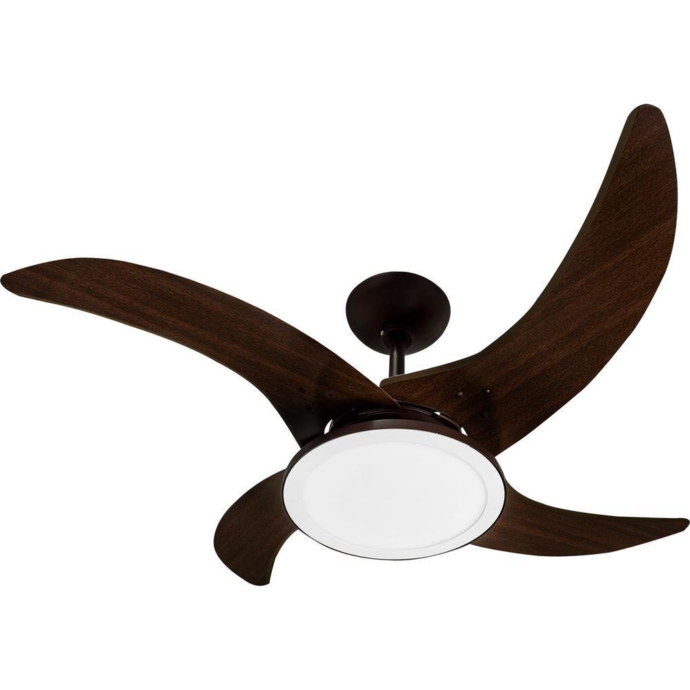 Ventilador de Teto Mareiro de LED Marrom Café 4 Pás Tron