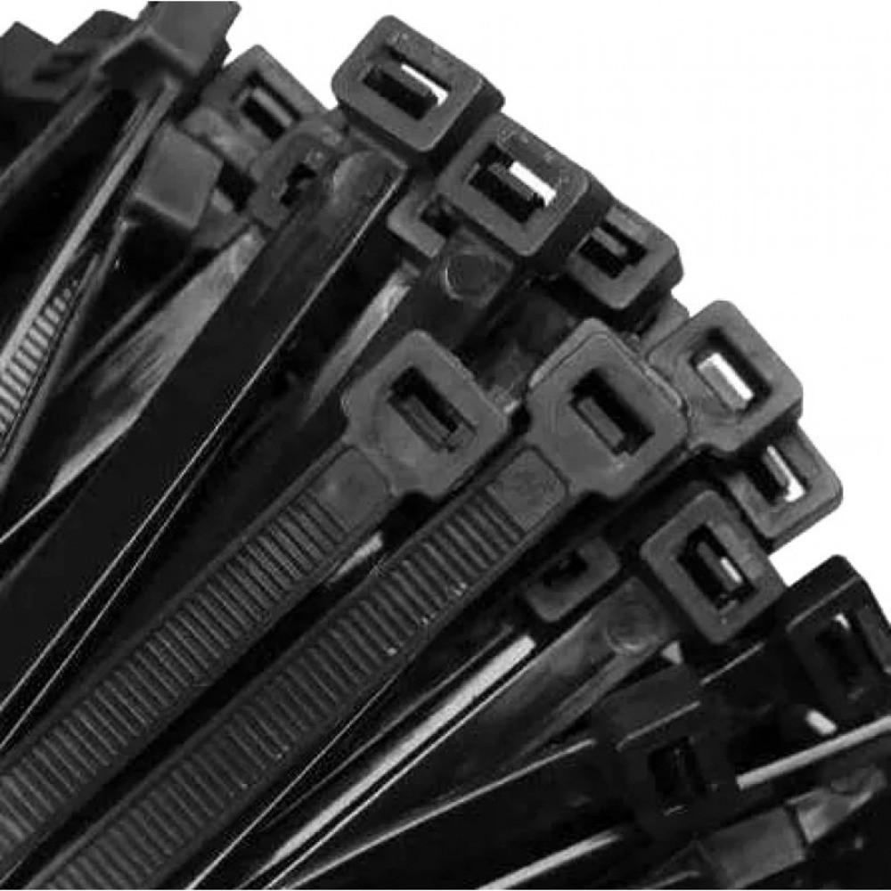 Abraçadeira de Nylon 390mm X 4,8mm Preta - 100 unidades  - Casa do Roadie