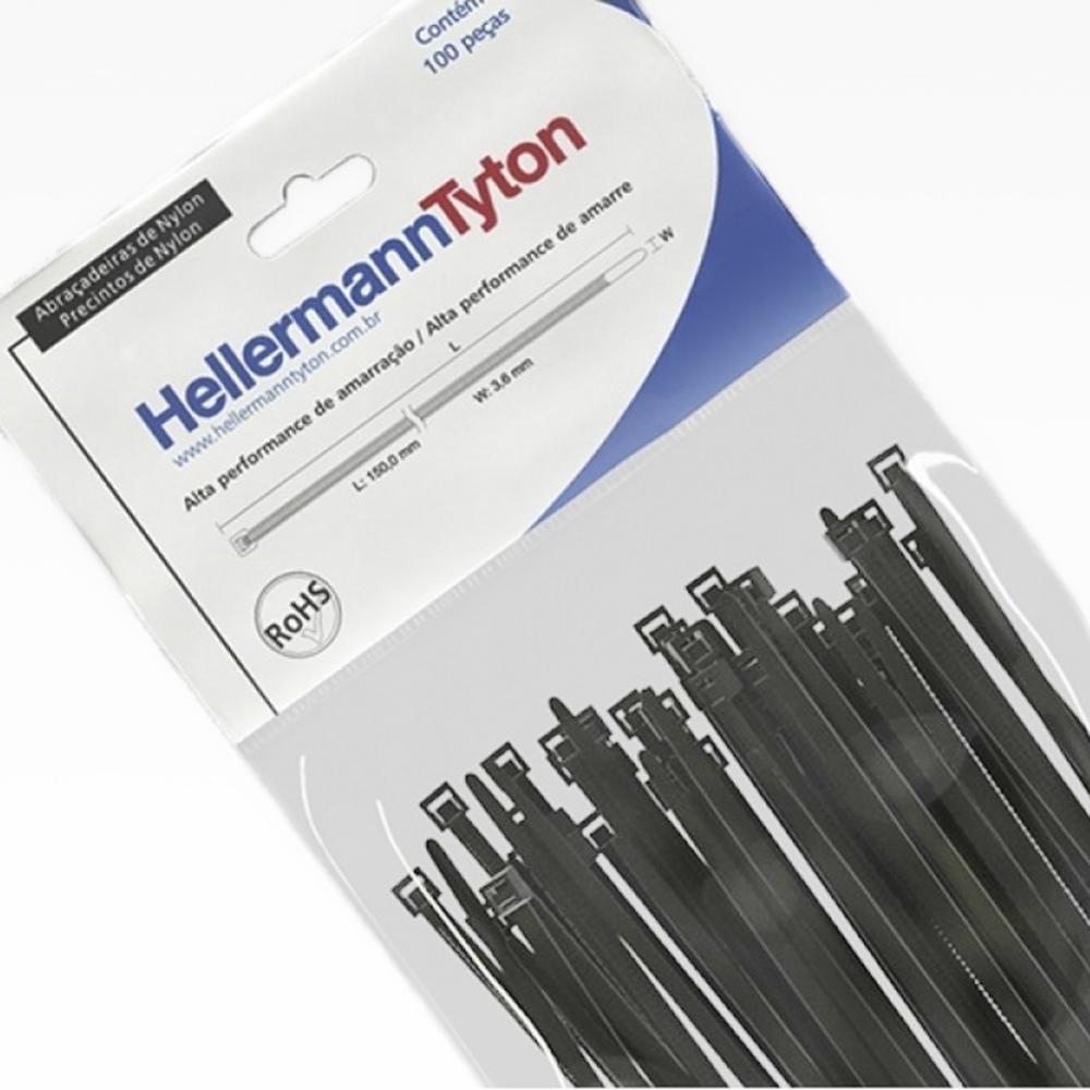Abraçadeira de Nylon Hellermann Tyton T120R 390mm X 7,6mm Preta - 100 unidades  - Casa do Roadie
