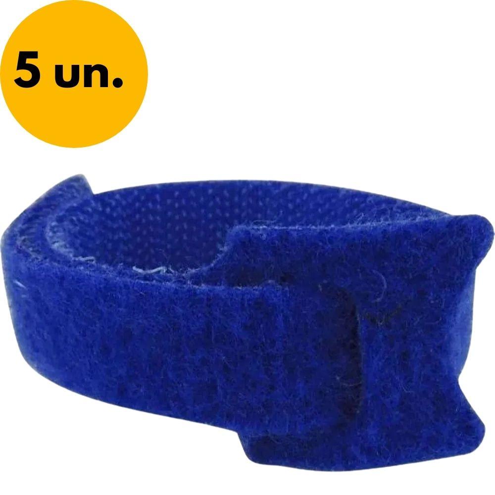Abraçadeira para Cabos Velcro 330mm x 14mm Azul Brasfort - Kit com 5