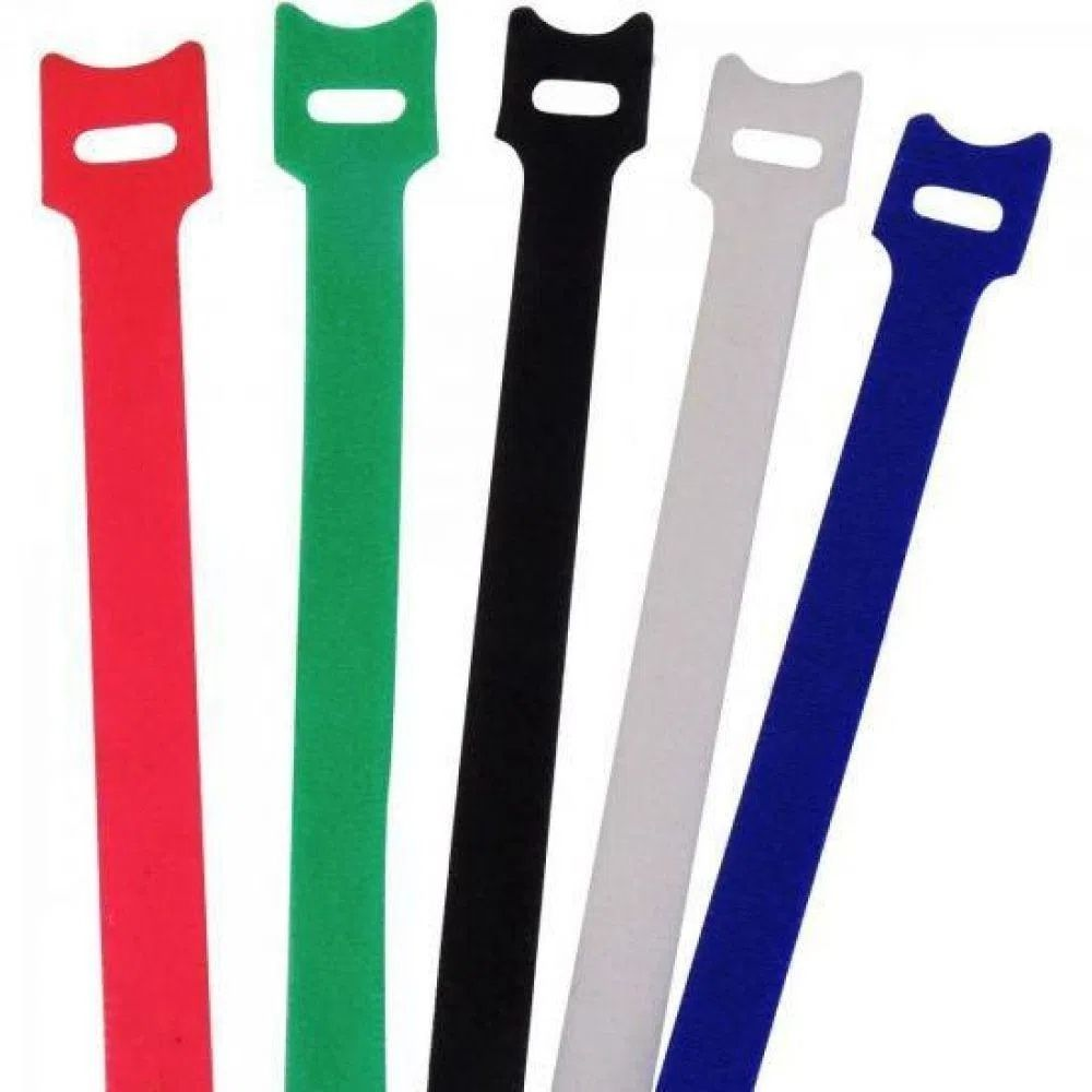Abraçadeira para Cabos Velcro 330mm x 14mm Colorido Brasfort - Kit com 5