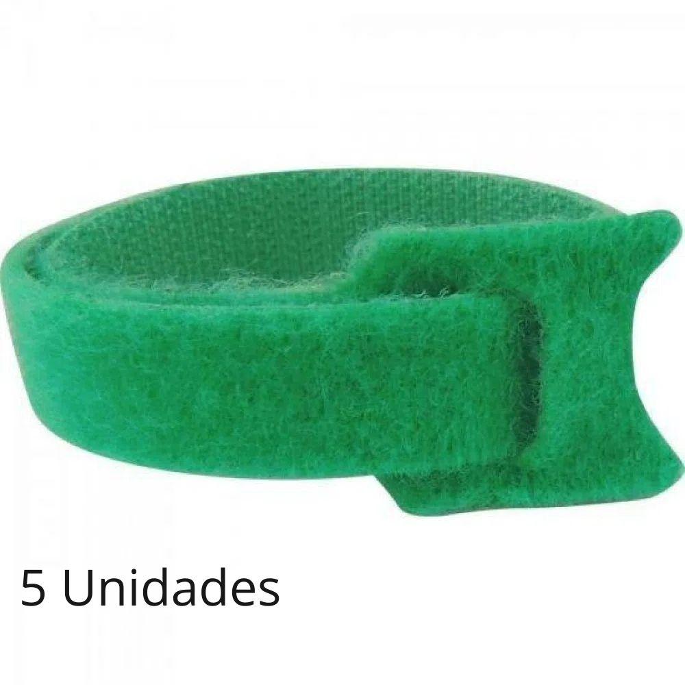 Abraçadeira para Cabos Velcro 330mm x 14mm Verde Brasfort - Kit com 5